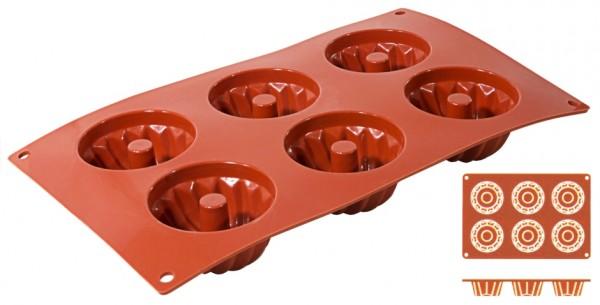 Silikon Backmatte GUGELHUPF 7,0 cm-Hoehe 3,5 cm-6 Formen