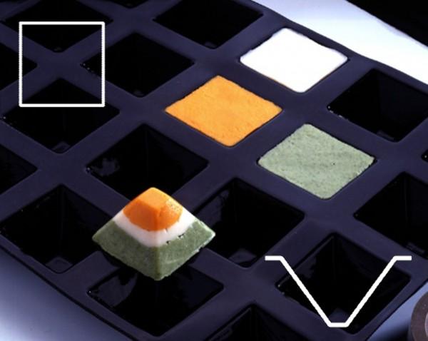 Silikonmatte - Pyramide - Größe 5,0 x 5,0 x 3,5 cm - GN 1/2 - Anzahl - Formen 12