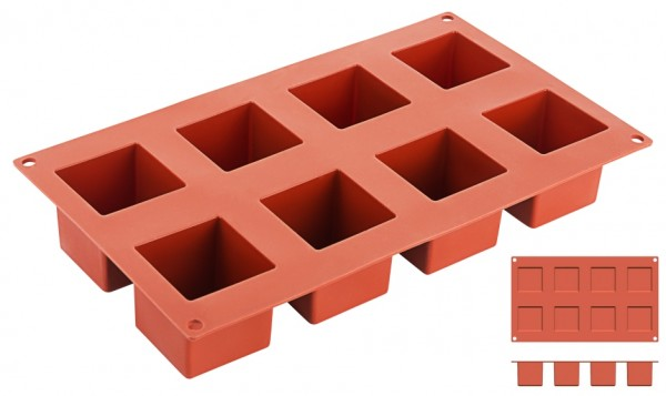 Silikon-Backmatte Würfel 5,0 x 5,0 cm - 8 Formen