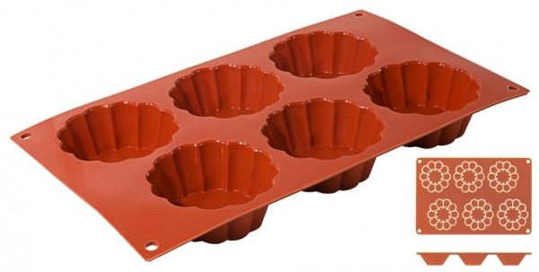 Silikon Backmatte BRIOCHETTE 7,9 cm-Hoehe 3,0 cm-6 Formen