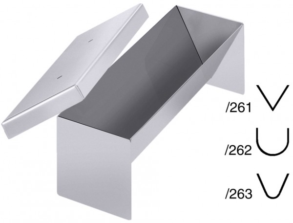 Pastetenform-Masse 26,0 x 8,0 cm-Hoehe 7,5 cm-Volumen 0,7 Liter-dreieck spitz