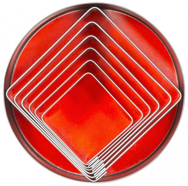 Ausstechformen Quadrat - glatt - Set mit 6 Stück