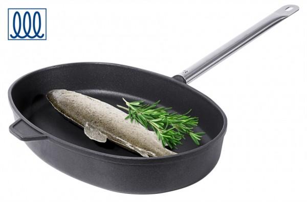 Fischpfanne-Aluminiumguss-Laenge 38 cm-Breite 26 cm-Stiellaenge 20 cm-Induktion