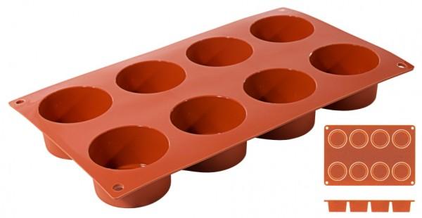 Silikon Backmatte ZYLINDER Ø 6,0 cm - Höhe 3,5 cm - 8 Formen