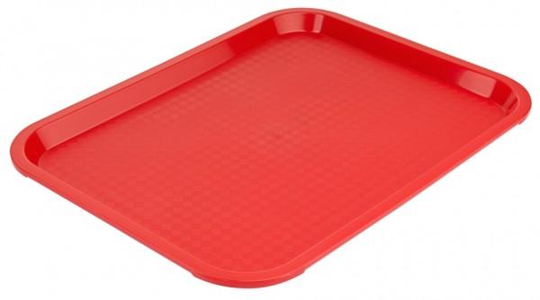 Serviertablett rechteckig-Masse 35,0 x 26,5 cm-Hoehe 2,0 cm-Farbe rot