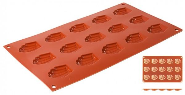 Silikon Backmatte MADELEINE 4,4 cm x 3,4 cm - Höhe 1,0 cm - 15 Formen