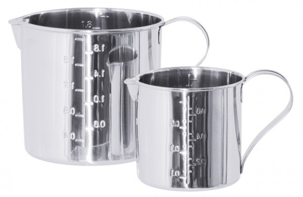 Zylindrisches Mass, graduiert 14,0 cm-Hoehe 14,0 cm-Volumen 2,1 Liter-Scala 2