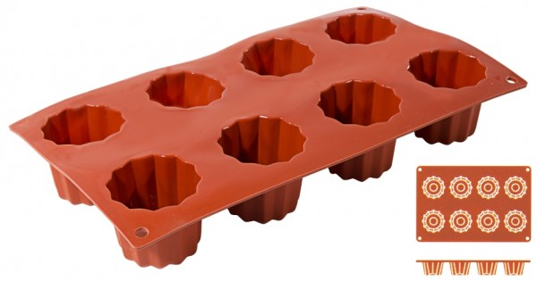 Silikon Backmatte BORDELAIS 5,5 cm-Hoehe 5,0 cm-8 Formen