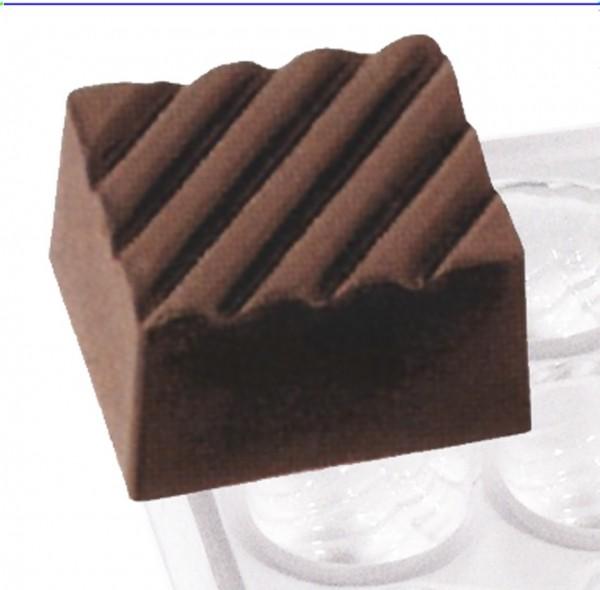 Pralinenform Rechteck Furchen 21,0 x 18,0 x 13,0 mm - Formen 24