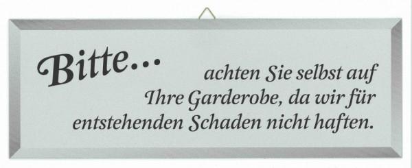Hinweisschild-Masse 35,0 x 12,5 cm-FÃœR GARDEROBE WIRD NICHT GEHAFTET