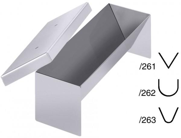 Pastetenform-Masse 26,0 x 8,0 cm-Hoehe 7,5 cm-Volumen 0,7 Liter-halbrund