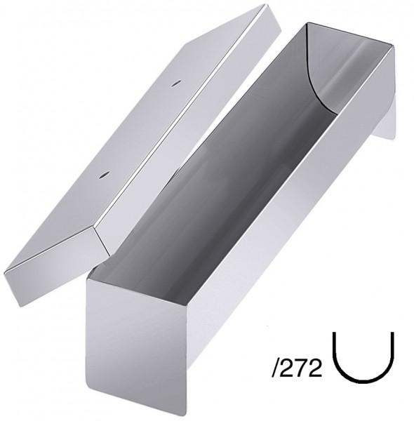 Pastetenform-Masse 27,5 x 5,5 cm-Hoehe 5,0 cm-Volumen 0,5 Liter-halbrund