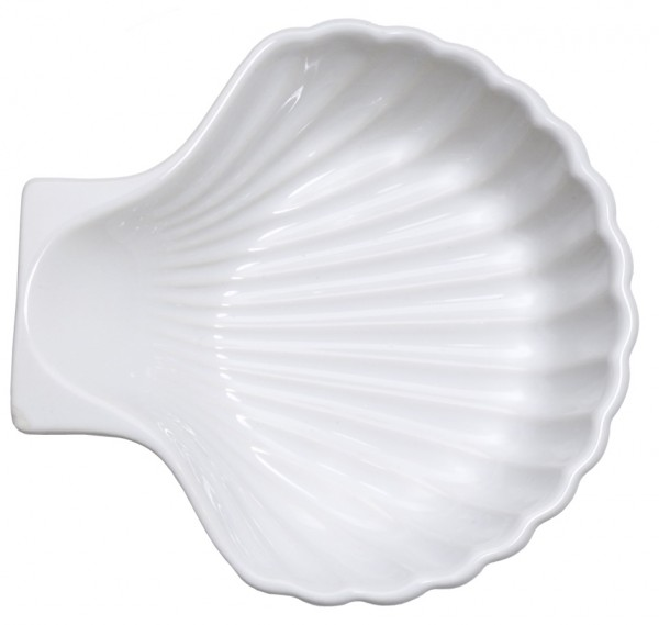 Muschelschale Keramik, weiss-innen 14,0 cm-Hoehe 4,0 cm-Volumen 0,25 Liter
