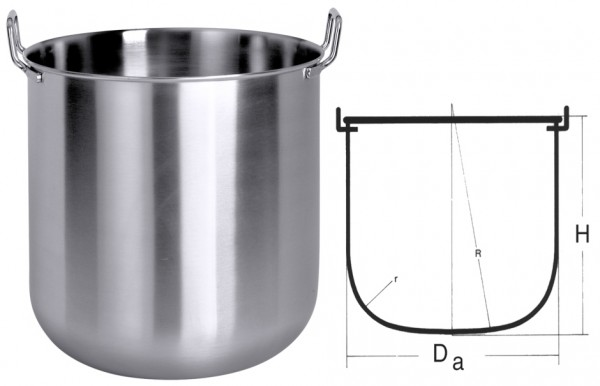 Maschinenkessel innen 315mm-Hoehe 300mm-Inhalt 20 Liter