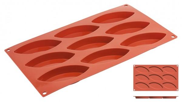 Silikon-Backmatte Schiffchen 10,0 x 4,4 cm - 9 Formen